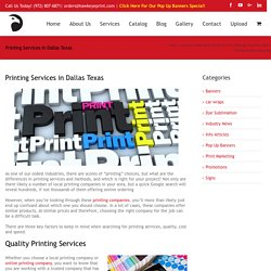 Printing Services in Dallas Texas - Online vs Local