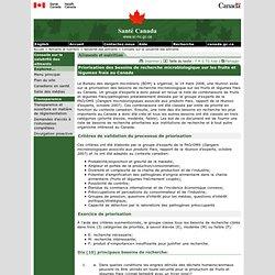 SANTE CANADA 05/03/09 Priorisation des besoins de recherche microbiologique sur les fruits et légumes frais au Canada