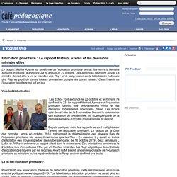 Education prioritaire : Le rapport Mathiot Azema et les décisions ministérielles