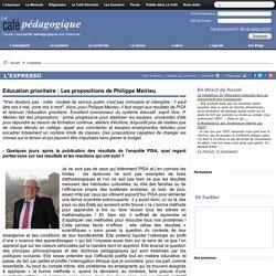 Education prioritaire : Les propositions de Philippe Meirieu