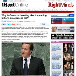 Warped priorities: £28bn cuts. Our Armed Forces slashed to the bone. So why is Cameron boasting to the UN about spending yet more billions on overseas aid?