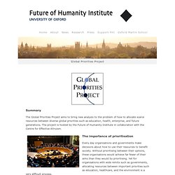 Global Priorities Project | Future of Humanity Institute