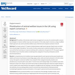 VET RECORD - JUILLET 2020 - Prioritisation of animal welfare issues in the UK using expert consensus