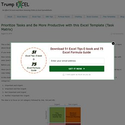 Prioritize Tasks & Be Productive (Task Matrix Excel Template)
