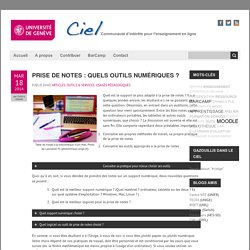 Prise de notes : quels outils numériques ?