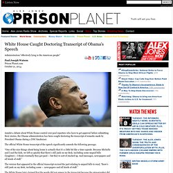 White House Caught Doctoring Transcript of Obama's Speech