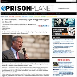 "NY Mayor: Obama ""Has Every Right"" to Bypass Congress on Amnesty"