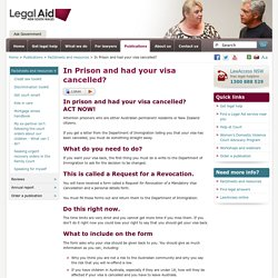 In Prison and had your visa cancelled? - Legal Aid NSW