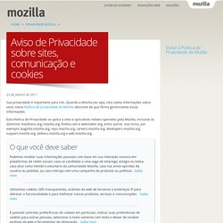 Aviso de Privacidade sobre sites, comunicação e cookies