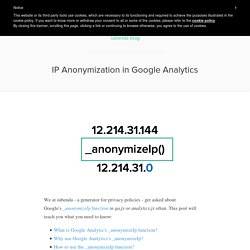 Privacy Policy for AnonymizeIp and Google Analytics
