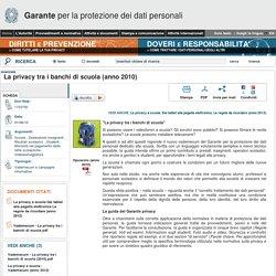 La privacy tra i banchi di scuola (anno 2010) - Garante Privacy