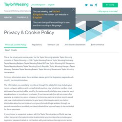Privacy & Cookie Policy » Taylor Wessing
