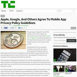 Apple, Google, And Others Agree To Mobile App Privacy Policy Guidelines