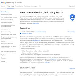 Privacy Policy Preview – Google Privacy Center