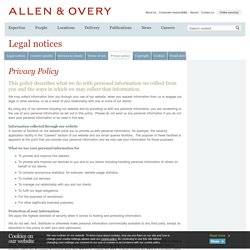 Privacy policy - Legal notices