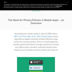 Privacy Policy in Mobile Apps - Why and How