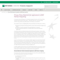 Privacy Policy Statement for applications to BNP Paribas Hong Kong - BNP Paribas Hong Kong