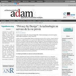 """Privacy by Design"": la technologie au service de la vie privée 