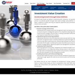 Private Equity Investment Value Creation - Kotak
