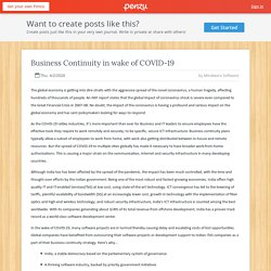 Business Continuity in wake of COVID-19