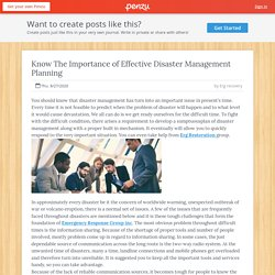Know The Importance of Effective Disaster Management Planning