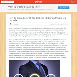 How To Learn Prophet Applications Utilitarian Course On the web?