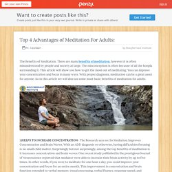 Top 4 Advantages of Meditation For Adults: