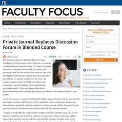 Private Journal Replaces Discussion Forum in Blended Course