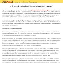 Is Private Tutoring For Primary School Math Needed?
