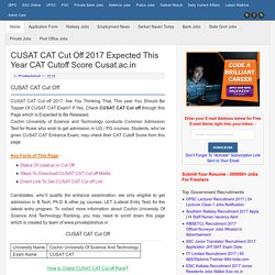 CUSAT CAT Cut Off