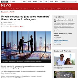 Privately educated graduates 'earn more' than state school colleagues - BBC News