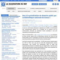 Non à la privatisation du domaine public par la Bibliothèque nationale de France !