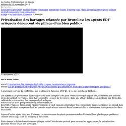 Privatisation des barrages relancée par Bruxelles: les agents EDF ariégeois dénoncent «le pillage d'un bien public»