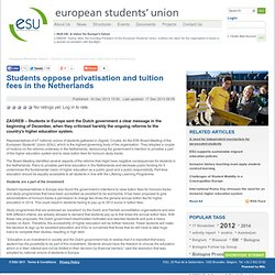 ESU: Students oppose privatisation and tuition fees in the Netherlands