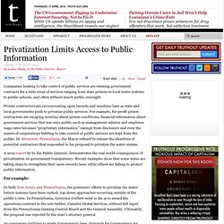 Privatization Limits Access to Public Information