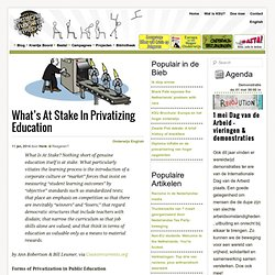 What's At Stake In Privatizing Education