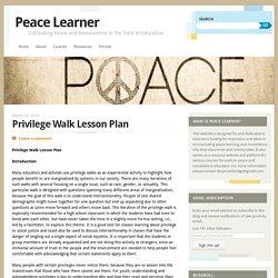 Privilege Walk Lesson Plan