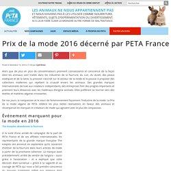 Prix de la mode 2016 décerné par PETA France