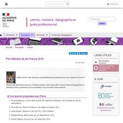 Prix littéraire IDF 2015 - Sélection parisienne 2016