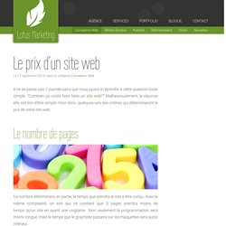 Le prix d'un site web - Lotus Marketing