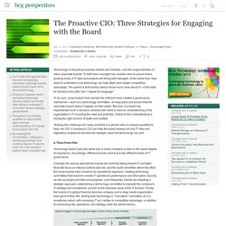 The Proactive CIO: Three Strategies for Engaging with the Board