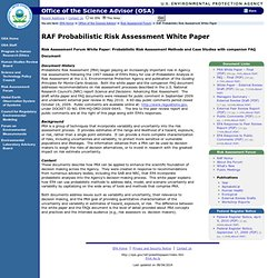 RAF Probabilistic Risk Assessment White Paper | Office of Science Advisor