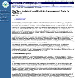 EPA 27/06/07 ECOFRAM Update: Probabilistic Risk Assessment Tools for Pesticides