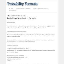Probability Distribution Formula