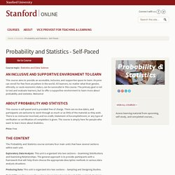 Probability and Statistics - Self-Paced