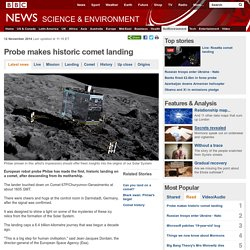 Probe makes historic comet landing