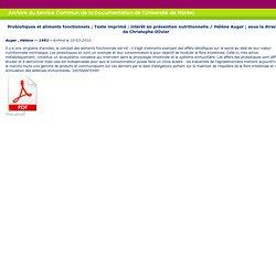 UNIVERSITE DE NANTES 10/03/10 Thèse en ligne : Probiotiques et aliments fonctionnels : intérêt en prévention nutritionnelle