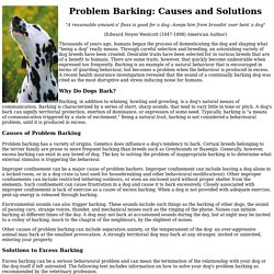 Problem Barking: Causes and Solutions