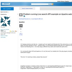 Problem running Live search API example on Apache web server + P