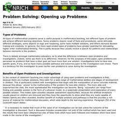 Problem Solving: Opening up Problems